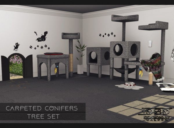 Sims 4 Designs: Carpeted Conifers Tree Set