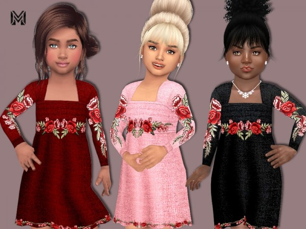 The Sims Resource: Toddler Flower Embroidered Dress by MartyP