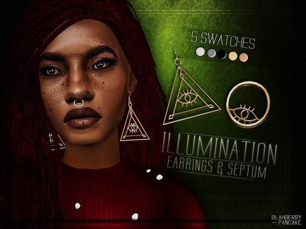 The Sims Resource: Illumination Earrings and Septum by Blahberry Pancake