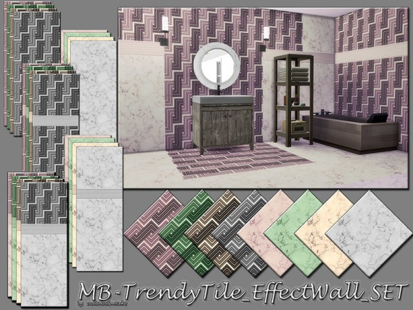 The Sims Resource: Trendy Tile Effect Wall set by matomibotaki