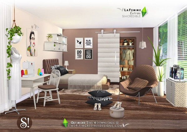 Simcredible Designs Lafemme Extras Bedroom Sims 4 Downloads