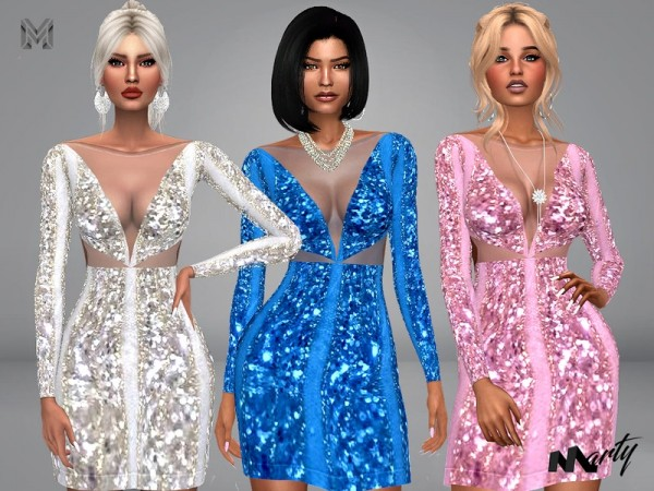 The Sims Resource: Cut Triangle Glitter Dress by MartyP