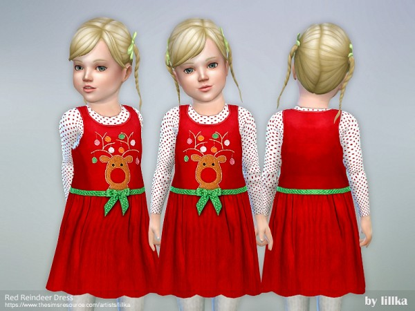 The Sims Resource: Red Reindeer Dress by lillka