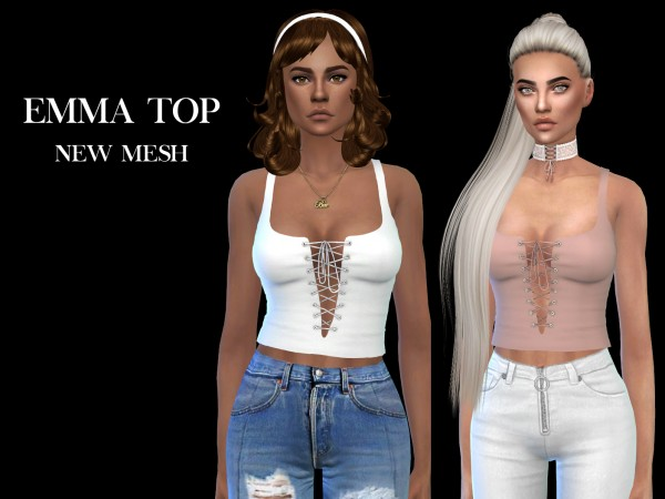 Leo 4 Sims: Emma top recolored 2