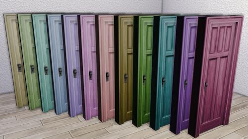 La Luna Rossa Sims: Wooden Five Panel Door Colored