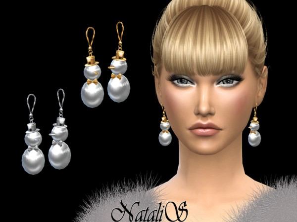 The Sims Resource: Snowman earrings by NataliS