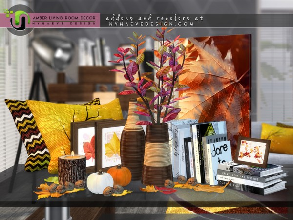 The sims resource amber living room decor by for Room decor sims 4