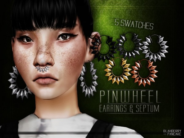 The Sims Resource: Pinwheel Earrings and Septum by Blahberry Pancake