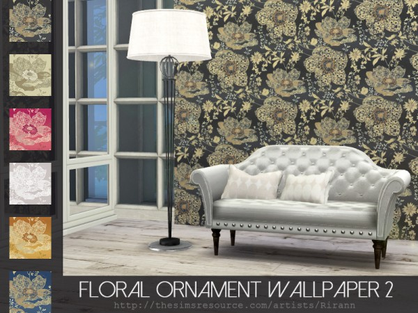 The Sims Resource: Floral Ornament Wallpaper 2 by Rirann