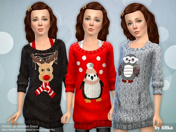 The Sims Resource: Christmas Sweater Dress by lillka