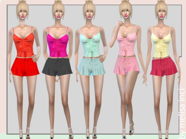 The Sims Resource: Satin Pajama Shorts Set by melisa inci