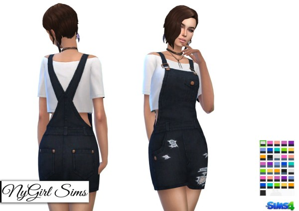 NY Girl Sims: Overall Mini Dress with Crop Tee