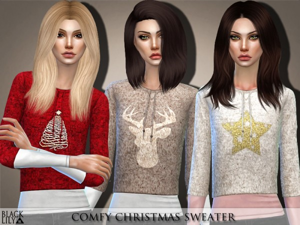The Sims Resource: Comfy Christmas Sweater by Black Lily