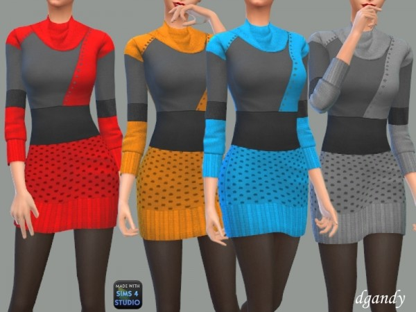 The Sims Resource: Cowl Neck Sweater Dress by dgandy