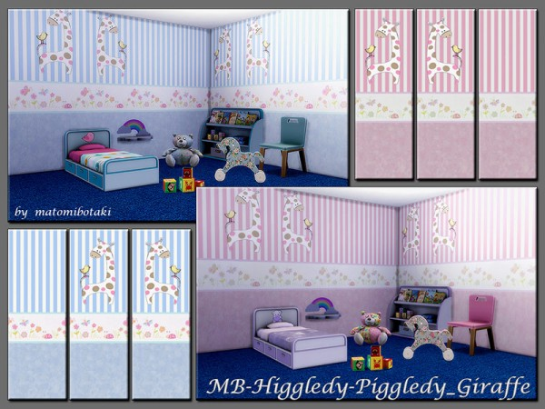 The Sims Resource: Higgledy Piggledy Giraffe wallsset by matomibotaki