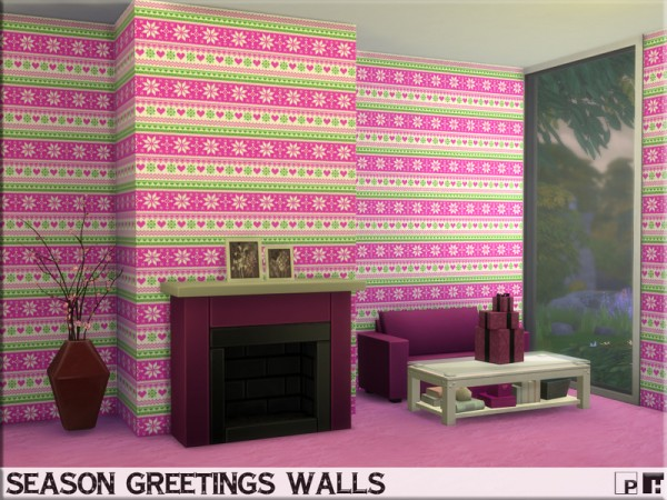 The Sims Resource: Season Greetings Walls by Pinkfizzzzz