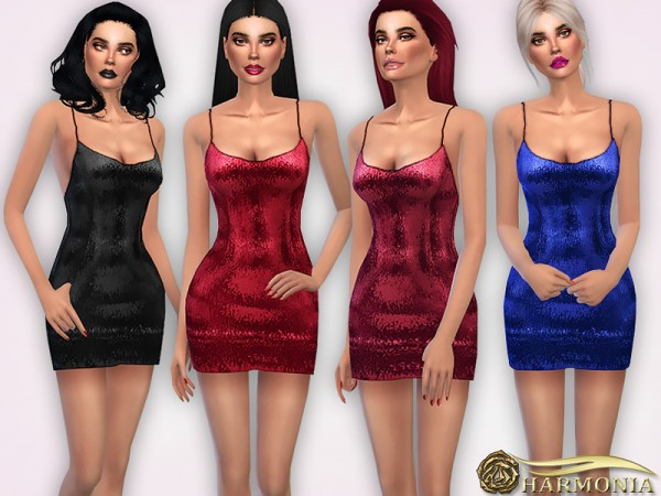 The Sims Resource: Strappy Sequin Bodycon Dress by Harmonia