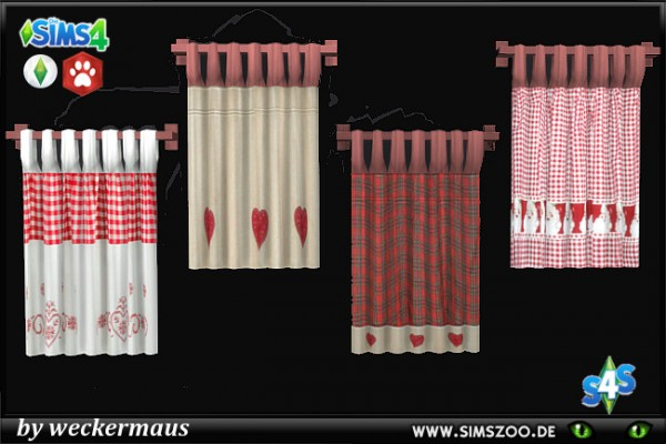 Blackys Sims 4 Zoo: Huts christmas curtain by weckermaus