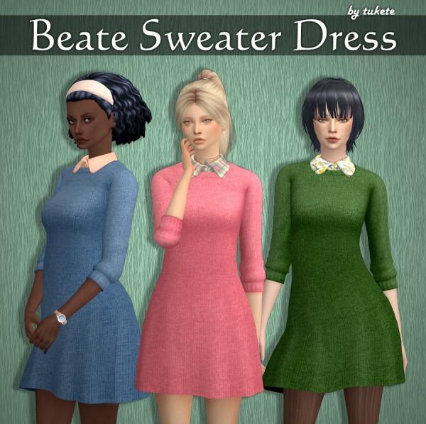 Tukete: Beate Sweater Dress with Collar