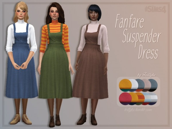 The Sims Resource: Fanfare Suspender Dress by Trillyke