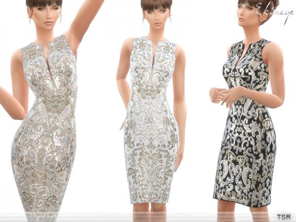 The Sims Resource: Filigree Embroidered Dress by ekinege