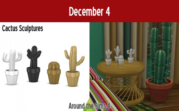Around The Sims 4: Advent calendar   Cactus sculptures