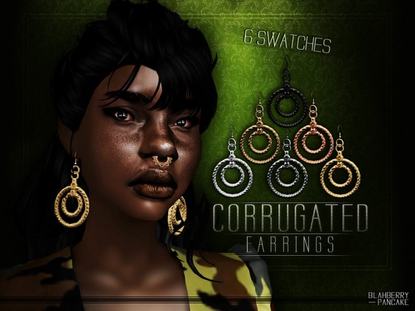 The Sims Resource: Corrugated Earrings by Blahberry Pancake