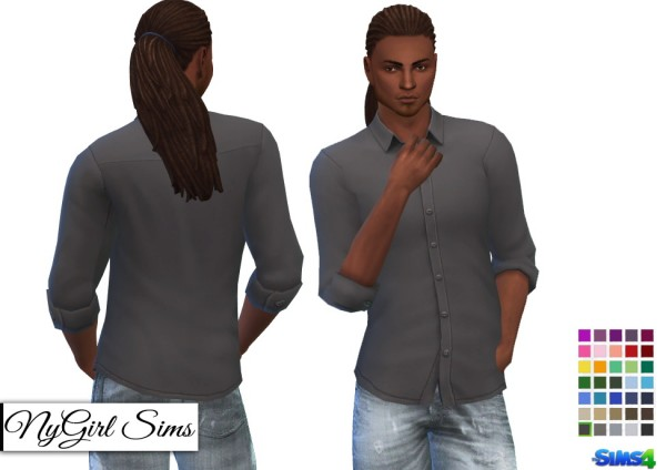 NY Girl Sims: Untucked Rolled Sleeve Button Up