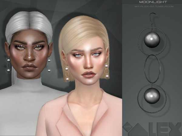 The Sims Resource: Moonlight earrings by Mr.Alex