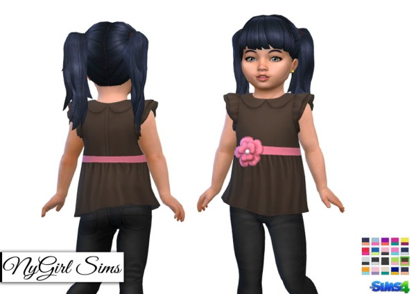 NY Girl Sims: Ruffle Sleeve Shirt with Flower Sash