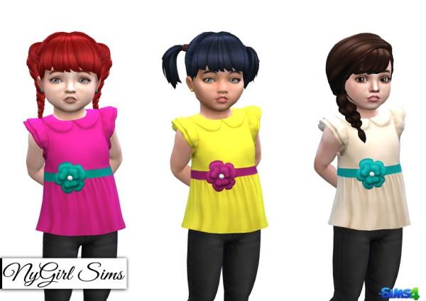 NY Girl Sims: Ruffle Sleeve Shirt with Flower Sash