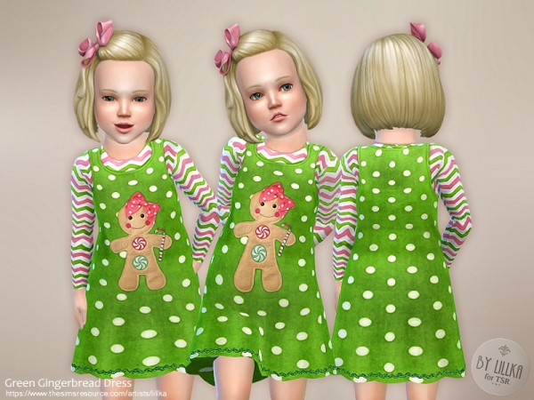 The Sims Resource: Green Gingerbread Dress by lillka