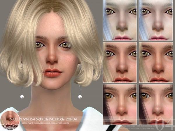 The Sims Resource: Skin Detail Nose201704 by S Club