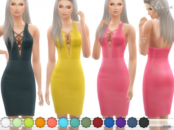 The Sims Resource: Lace Up Halter Dress by ekinege