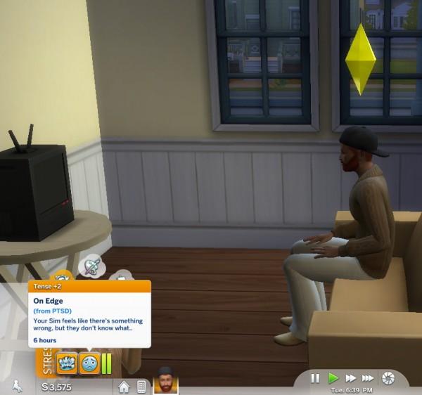 Mod The Sims: PTSD Trait  by piebaldfawn