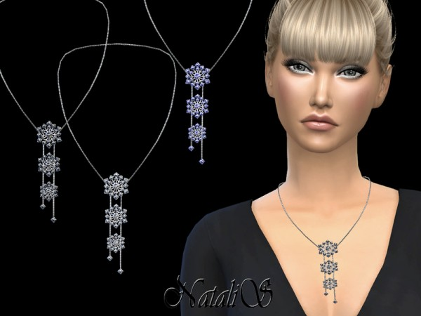 The Sims Resource: Sparkling triple snowflakes necklace by NataliS