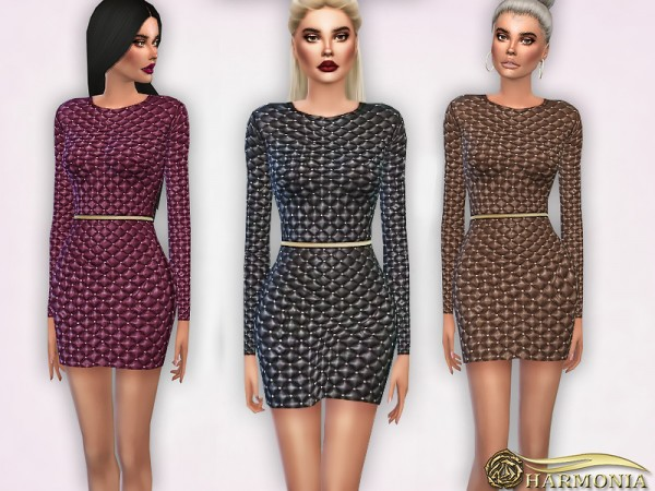 The Sims Resource: Studded quilted leather dress by Harmonia