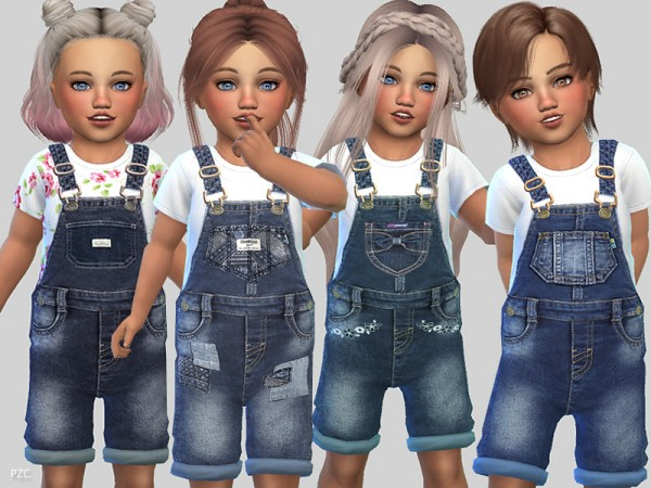 The Sims Resource: Denim Short Overalls Toddlers by Pinkzombiecupcakes