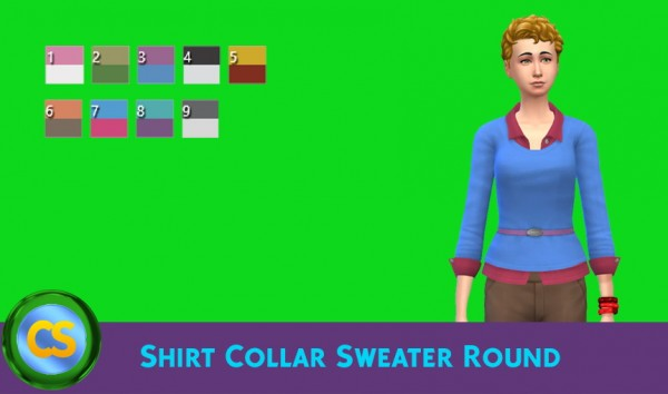 Simsworkshop: Shirt Collar Sweater Round by cepzid