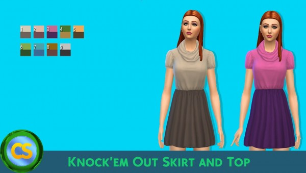 Simsworkshop: Knockem Out Skirt and Top by cepzid