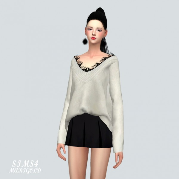 SIMS4 Marigold: Lace Sweater