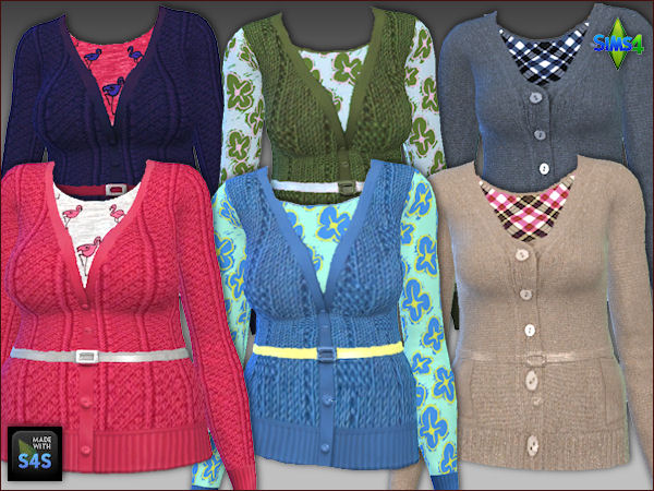 Arte Della Vita: 4 knit jackets and 2 knit vests with shirts for women