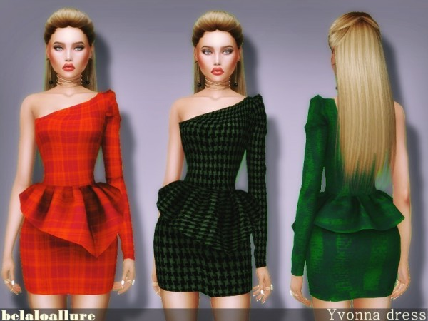 The Sims Resource: Yvonna dress by belal1997