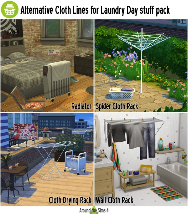 Around The Sims 4: Activity   Cloth Lines for Laundy Day stuff pack