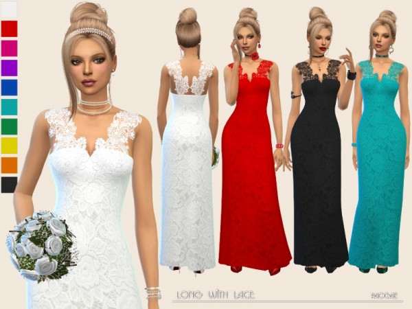 The Sims Resource: Long dress with lace by Paogae