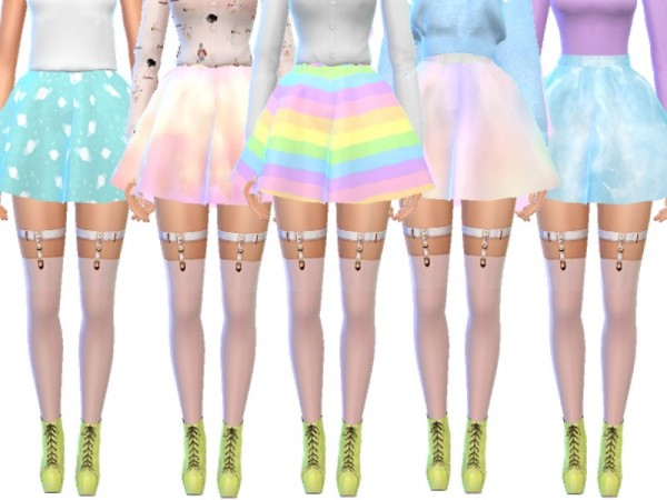 The Sims Resource: Pastel Gothic Skirts Pack Six by Wicked Kittie