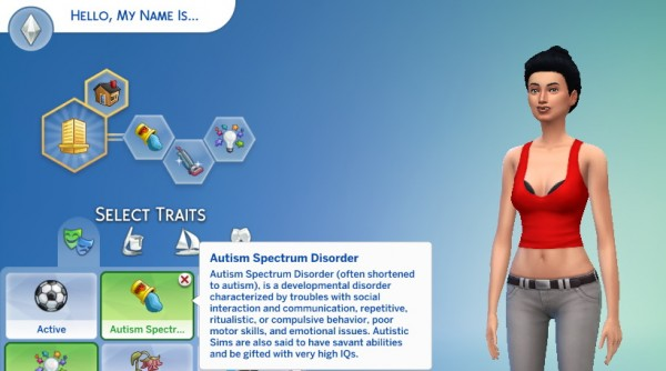 Mod The Sims: Autism Spectrum Disorder Trait by piebaldfawn • Sims 4