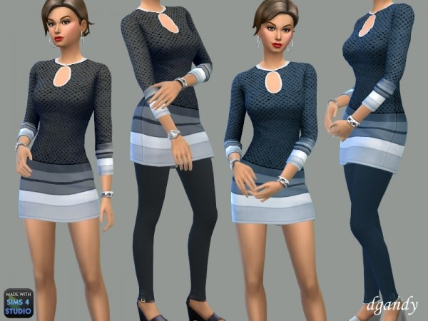 The Sims Resource: Mini Dress with or without Leggings   Amelia by dgandy