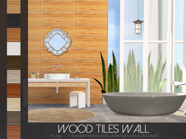 The Sims Resource: Wood Tiles Wall by Rirann