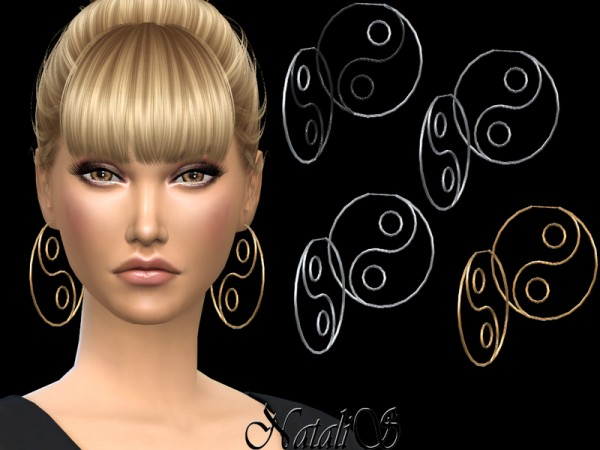 The Sims Resource: Yin Yang Hoop Earrings by NataliS